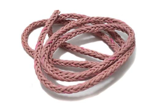 1 Mtr. Braided Leather Cord Pink 5 mm