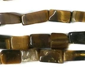 1 Strings Semiprecious Stone Rectangle Beads Tiger Eye 9x4 mm