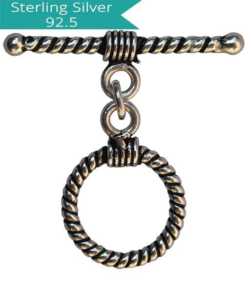 925 Silver 12mm Striped Toggle Clasps