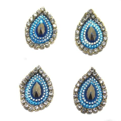 12 Cabochon Bezels Tear Drop Blue 18x14mm