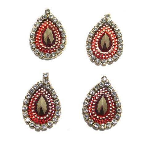 12 Cabochon Bezels Tear Drop Red 18x14mm