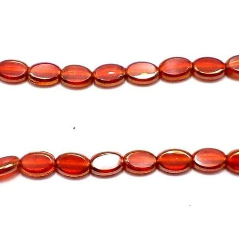 5 Strings Window Metallic Lining Oval Beads Light Red 10x7 mm