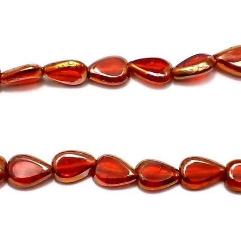30+Window Metallic Lining Drop Beads Light Red 12x8 mm