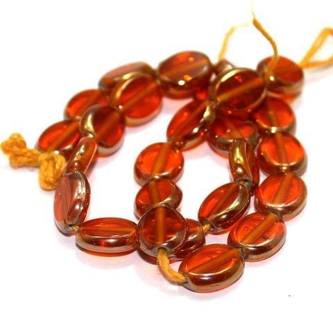 5 Strings Window Metallic Lining Flat Oval Beads Orangre 11x9 mm