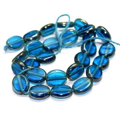 5 Strings Window Metallic Lining Flat Oval Beads Turquoise 11x9 mm
