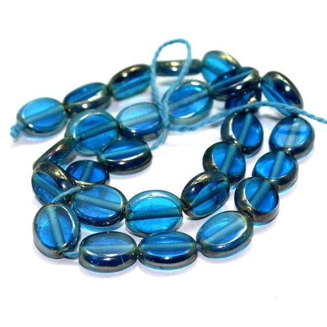 5 Strings Window Metallic Lining Flat Oval Beads Turquoise 11x9 mm