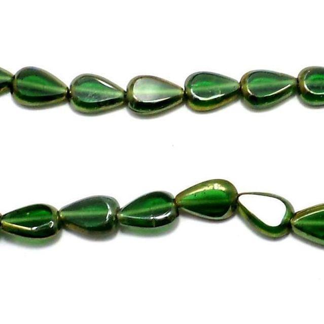 4 Strings Window Metallic Lining Drop Beads Dark Green Rainbow 11x8 mm