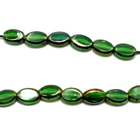 2 Strings Window Metallic Lining Oval Beads Green 10x7 mm