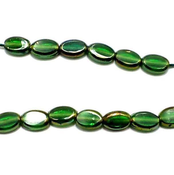 2 Strings Window Metallic Lining Oval Beads Green 10x7 mm