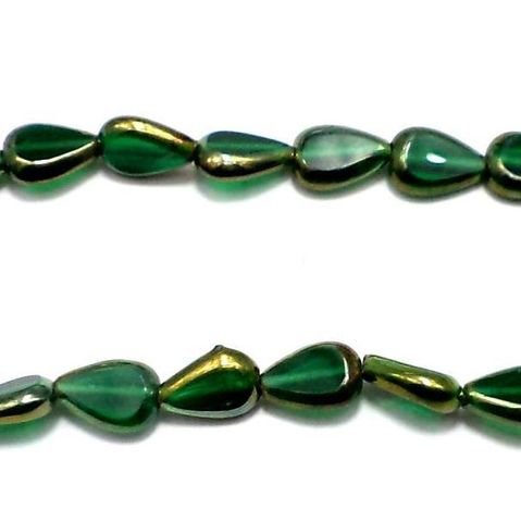 5 Strings Window Metallic Lining Drop Beads Green 12x8 mm