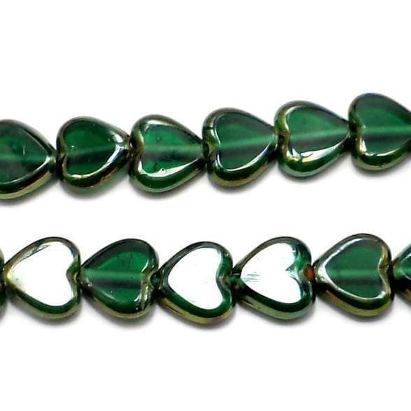 5 Strings Window Metallic Lining Heart Beads Green 10 mm