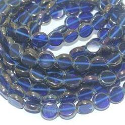 5 Strings Glass Window Metallic Disc Beads Blue 10 mm