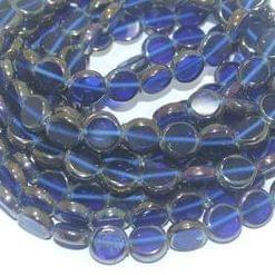 5 Strings Glass Window Metallic Disc Beads Blue 10 mm