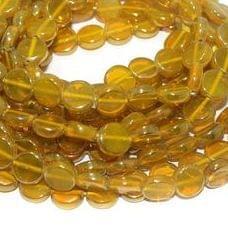 5 Strings Glass Window Metallic Disc Beads Yellow 10 mm