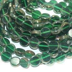 5 Strings Glass Window Metallic Disc Beads Green 10 mm
