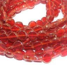 5 Strings Glass Window Metallic Disc Beads Red 10 mm