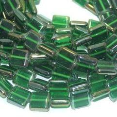 5 Strings Glass Window Metallic Square Beads Green 12 mm
