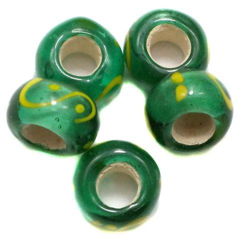 20 Pandora Beads Green 8x14mm