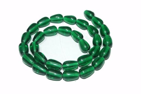 5 strings Glass Drop Beads Green 12x8mm