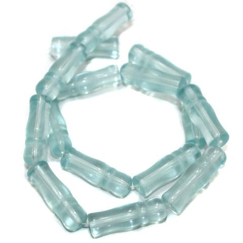 5 Strings Glass Beads Imam Light Aqua 8x24 mm