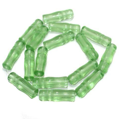 5 Strings Glass Beads Imam Light Peridot 8x24 mm