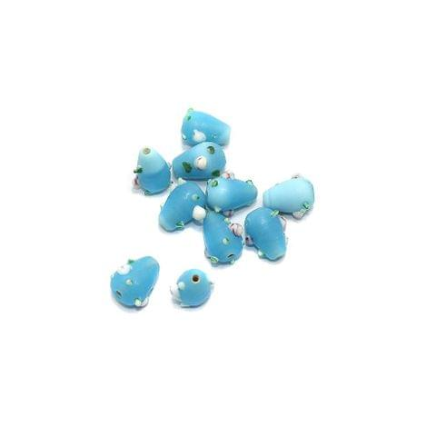 10 Bump Dotted Drop Beads Turquoise 16x10mm