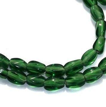 5 Strings Fire Polish Twisty Oval Beads Green 6x4 mm