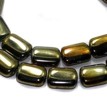 5 Strings Fire Polish Square Beads GD 15x10 mm