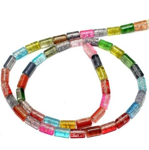 5 Strings Crackle Tube Beads Assorted Colour 4x8 mm