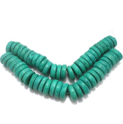 55+ Synthetic Stone Flat Round Beads Turquoise 22x7 mm