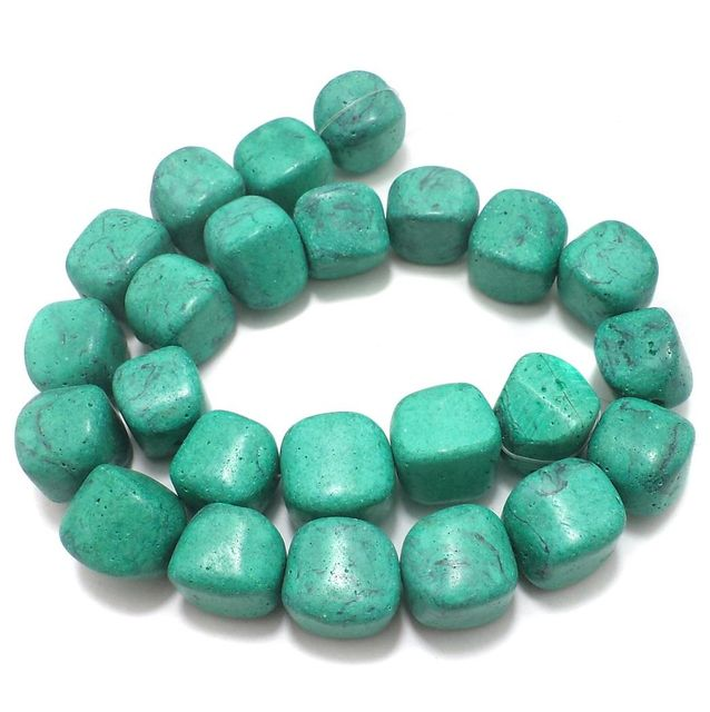20+ Synthetic Stone Tumbled Beads Turquoise 16x14 mm
