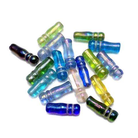 95+ Glass Imam Beads Assorted Rainbow 24x8 mm