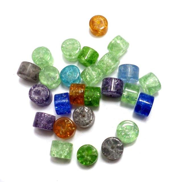 300+ Crackle Tyre Beads Assorted 8x6mm