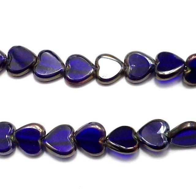 5 Strings Window Metallic Lining Heart Beads Blue 10 mm