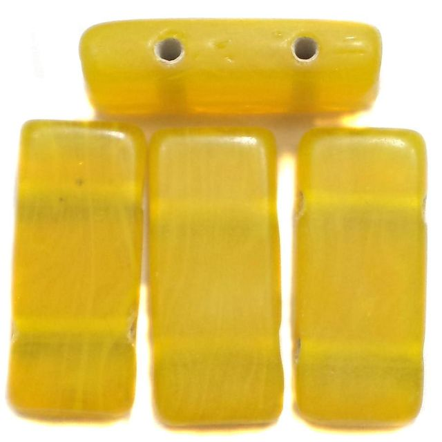 10 Spacer Ractangle Beads 2 Hole Yellow 24x10mm