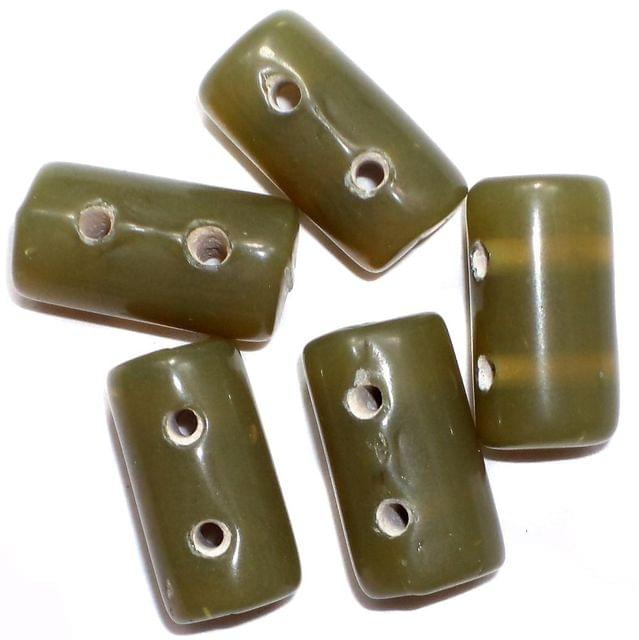 10 Spacer Tube Beads 2 Hole Olive Green 16x10mm