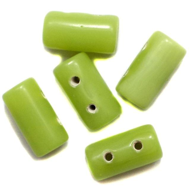 10 Spacer Tube Beads 2 Hole Peridot 16x10mm