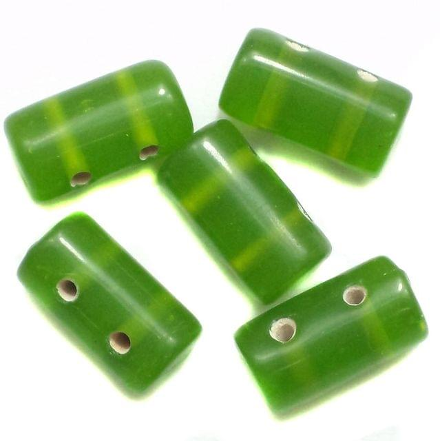 10 Spacer Tube Beads 2 Hole Green 16x10mm