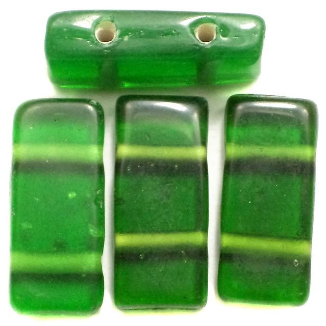 10 Spacer Ractangle Beads 2 Hole Green 24x10mm