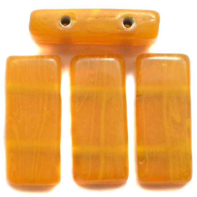 10 Spacer Ractangle Beads 2 Hole Opaque Peach 24x10mm