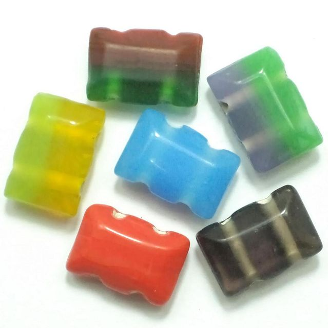 10 Spacer Rectangle Beads 2 Hole Assorted 15x10mm