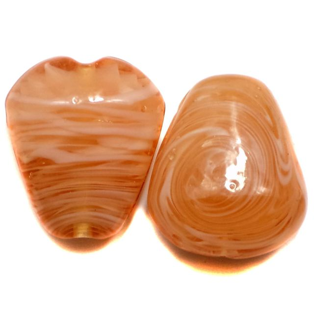 2 Lampwork Drop Beads Light Brown 32x27x15mm