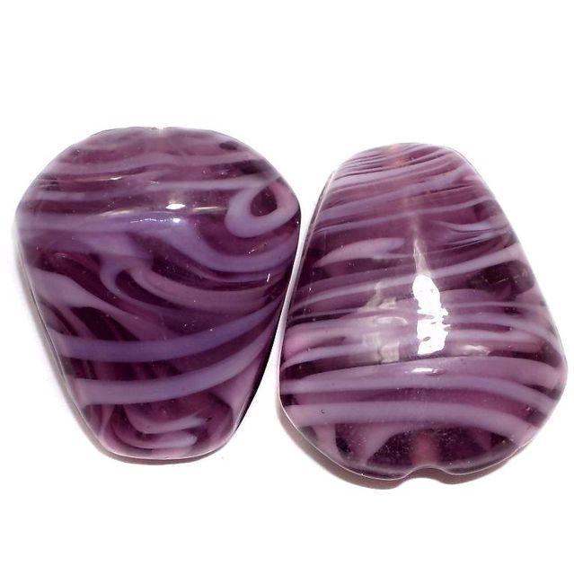 2 Lampwork Drop Beads Purple 32x27x15mm