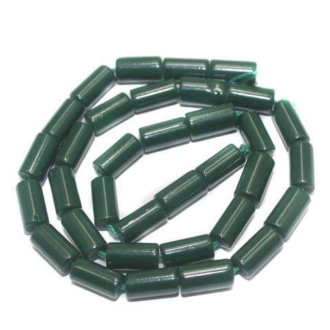 5 Strings of Jaipuri Tube Beads Green 8x4mm