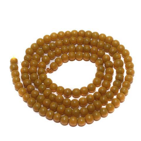 5 Strings of Jaipuri Round Beads Yellow 3mm