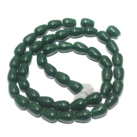 5 Strings of Jaipuri Drop Beads Green 8X6mm