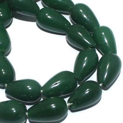 5 Strings of Jaipuri Drop Beads Light Green 15X10mm