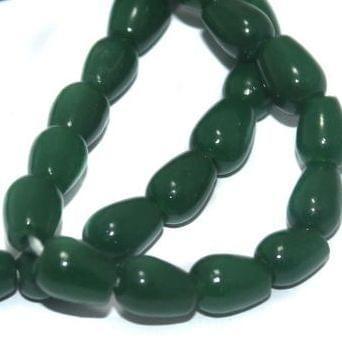 5 Strings of Jaipuri Drop Beads Light Green 8X6mm