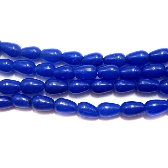 Jaipuri Beads Blue Drop 5 Strings 6x4mm