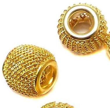 25 Metal Oval Beads Golden 12x10mm